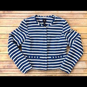 Gap Royal Blue & Cream Striped Woven Blazer Sz 10